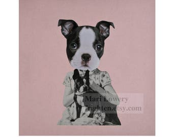 Boston Terrier Art, Paper Collage Print, Pink Wall Decor, Dog Art Print, Animal in Clothes, Retro Decor