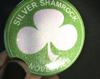 "Silver Shamrock Glitter Pin - Large 2 1/4"" size"