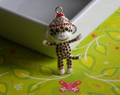 Sock Monkey Boy Rhinestone Pendant w/ Hat for Bubble Necklaces Key Chains Zipper Pulls Bubblegum Jewelry Holiday Gift Ornaments Charms