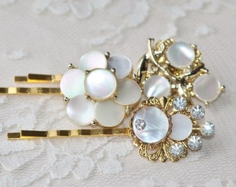 TRUE Vintage Mother Of Pearl Jeweled Bridal Bobby Pins,Gold Rhinestone,Ivory Pearl,Repurposed Vintage Jewelry,Golden Hair Pins,Set of Three