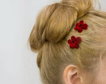 Red Flower Hair Clips, Red Flower Bobby Pins, Red Flower Hair Grips, Red Flower Hair Pins, Red Flower Kirby Grips, Red Blossom Flower