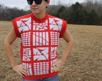 SALE SALE Red Sweater Shirt What the What Show Stopper small-medium