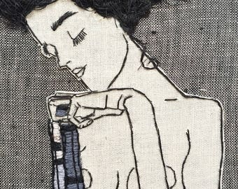 Egon Schiele Embroidery Art. Hand embroidered.