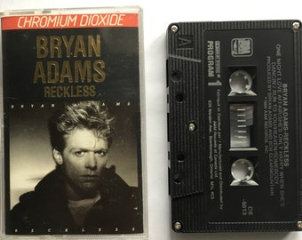 Bryan Adams - Reckless - vintage cassette tape - hard rock music - canadian singer - 1984 - AM records - Chromium - Free shipping Canada USA
