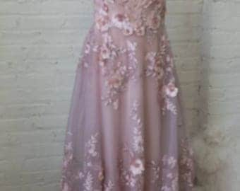 Wedding dress evening gown fairy Palest pink hint of lavender floral appliqued ballgown