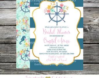 Bridal Shower Invitation, Nautical Invitation, Baby Shower, Invitation, Printed Invitations, Bridal Shower Invites, Gold Mint Navy Floral