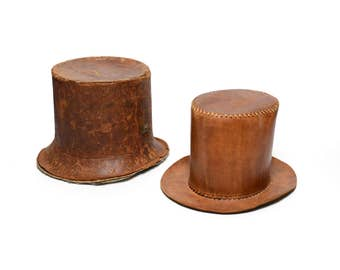 """antique leather top hat with case steampunk brown leather top hat hard carrying case cosplay costume small 21"""" size 54"""