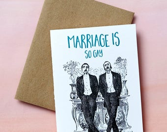 7221 : Lucky Gay, Wedding Letterpress Card, Snarky Wedding Card, Funny Wedding Card, Same Sex Wedding, Gay Wedding Card, Letterpress card
