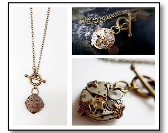 Vintage Inspired Steampunk Petite Pendant #2- Antiqued Brass tones.