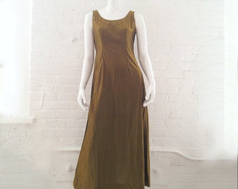 Gold Metallic Maxi Dress 1960s Vintage Bronze Lurex Prom Dress Ball Gown Medium Iridescent Cocktail Dress Minimalist Tank Column Dress 1970s