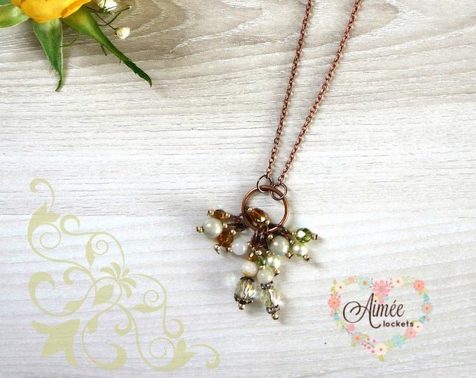 long, fine necklace, romantic, boho, victorian, brass necklace, gemstone dangle, czech glass pendant, cluster pendan, layering necklace