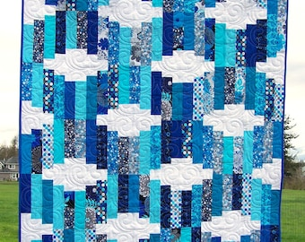 Ready to Ship, Modern Lap Quilt, Handmade, Aqua and Blue Quilt, Quilts For Sale, Coverlet, Custom, Busy Hands Quilts