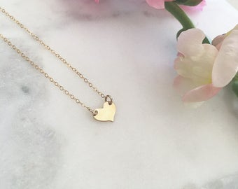 Gold Heart Necklace • Rose Gold Dainty Jewelry • Sterling Silver Heart Layering Necklace • Short Love Necklace ( READY TO SHIP )