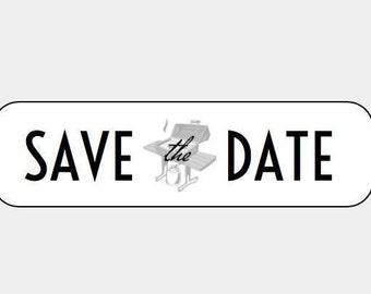 "20 ""Save the Date"" kraft labels/seals- return address size"