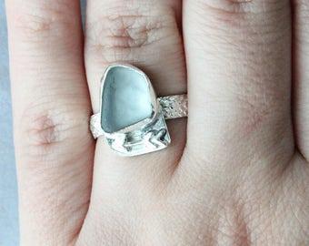 Gray Sea Glass Ring, Sea Glass Ring, Shell Ring, Beach Glass Ring, Sea glass Jewelry, Beach Glass Jewelry, Seaglass Jewelry, Silver Ring