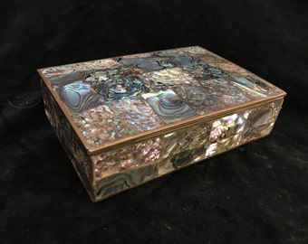 Natural Abalone Shell Trinket Box with Brass and Wood