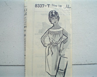 Vintage Patt-O-Rama Dress Pattern with Smocking at Neck 1960s Bust 38