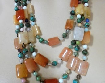 Vintage Natural Mixed Gemstone Bib Necklace Turquoise / Jade / Carnelian / Sterling Silver 4 Strand 925 Boho Retro Statement Runway