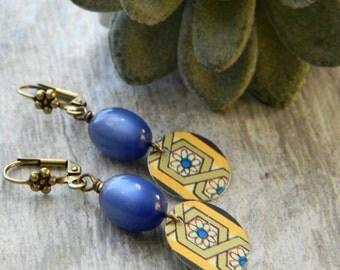 Vintage tin earrings beaded jewelry beaded earrings dangle earrings 10th anniversary gift tin jewelry
