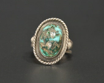 Royston Turquoise Ring Vintage Navajo Sterling Silver Size 6.25