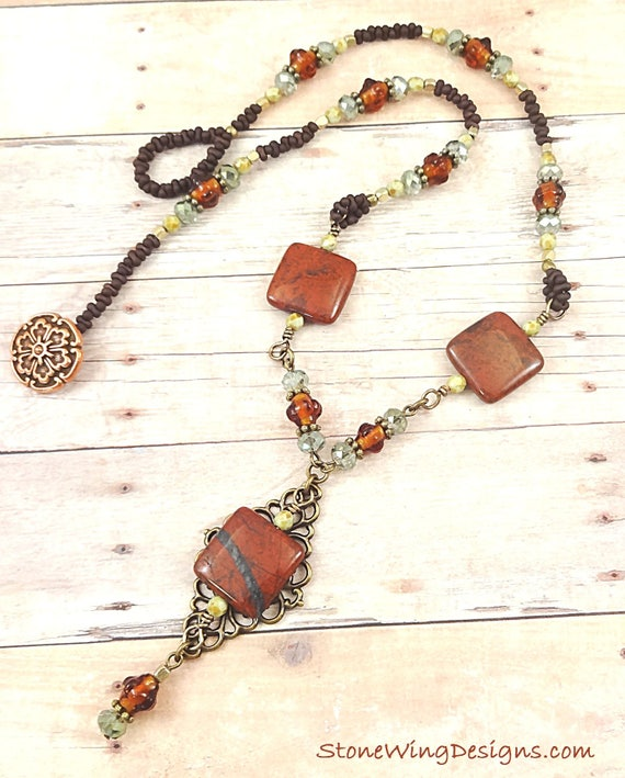 Bohemian Rustic Red Jasper, Glass and Antique Brass Necklace