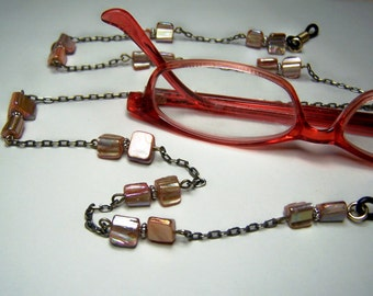 "Beaded Eyeglass Chain, Mother Of Pearl Beads, On Brass Chain, 27"" One of a Kind, Eyeglasses Lanyard by Eyewearglamour"