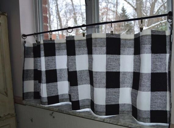 Cafe Curtains Black And White Buffalo Plaid Premier Prints