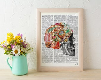Summer Sale Minerals  Skull collage Printed on Vintage Dictionary Book page decor art, Winter gift, human skull SKA119