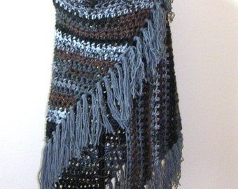 Gray / Black / Brown Fringe Shawl - Large Triangle Crochet Wrap - Gypsy Boho Shawl - Handmade Bulky Crochet Shawl