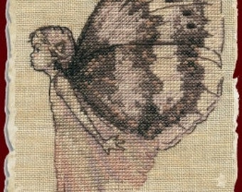 FREE US SHIPPING Le Papillon Butterfly cross stitch pattern by Nimuë at thecottageneedle.com fairies fairy fantasy