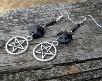 Supernatural, green witch jewelry, sea witch jewelry, white witch jewelry, pagan earrings, pastel goth earrings, pentacle earrings
