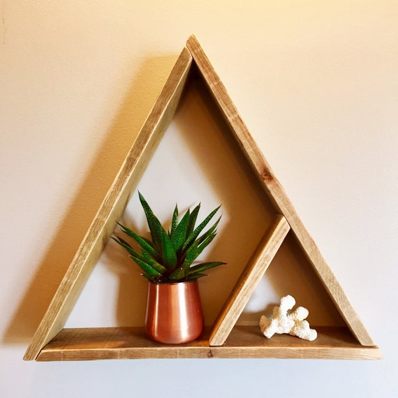 Sale triangle shelf reclaimed wood wall decor by Reclaimed wood wall art for sale
