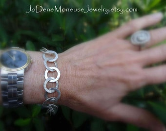 Sterling silver large link hand forged chain bracelet, metalsmith jewelry, handmade metalwork, hand fabricated silver happiness
