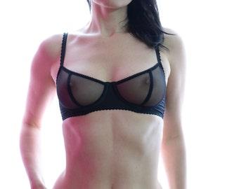 Women Sleepwear & Intimates Bras The Silky Satin Black Mesh Underwire Bra MADE TO ORDER