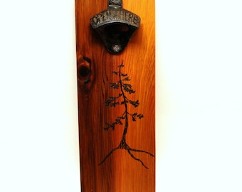 wall mount bottle opener cast iron magnet cap catcher tree cedar pyrography art
