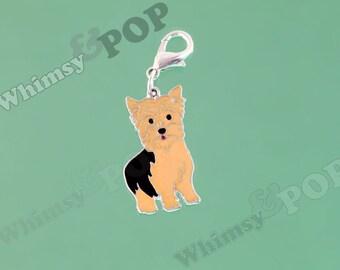 1 - Yorkie Dog Enamel Charm, Yorkshire Terrier Dog Charm, Pet Charm, 28mm x 16mm (2-1B)