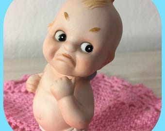 Adorable Vintage Lefton Bisque Kewpie Baby Featuring A Pouty Face And Saggy Diaper ~ Blue Wings ~ #KW143 ~ Cake Toppers ~ Vintage Nursery