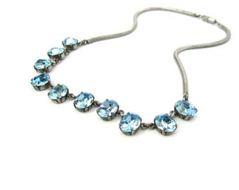 Blue Rhinestone Necklace. Sterling Silver Snake Chain Choker. Aqua Foiled Stones.  1940's Vintage Hollywood Regency Crystal Jewelry.