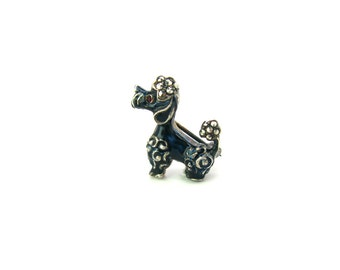 Dog Brooch. Enamel French Poodle. Small, Sterling Silver, Marcasites. Signed Alice Caviness Orig. Tag. Vintage 1960s Made In Germany Jewelry