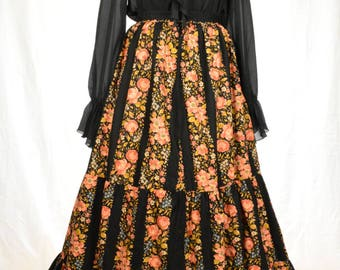 Glorious 70s Bohemian chic black and peach floral tiered maxi skirt size M/L