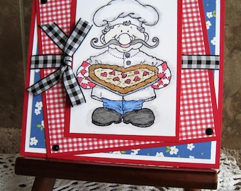 Large Handmade Card - Pizza Luigi - Hand Stamped - You've Got a Piece of My Heart