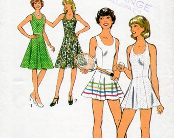 1970s Sun Dress or Tennis Dress Pattern Style 1103 Vintage Sewing Pattern Knee Length or Mini Flared Halter Neck Dress Bust 34