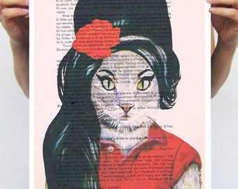 Amy Winehouse Poster, Cat poster, cat art, music poster, funny cat, by Coco de Paris