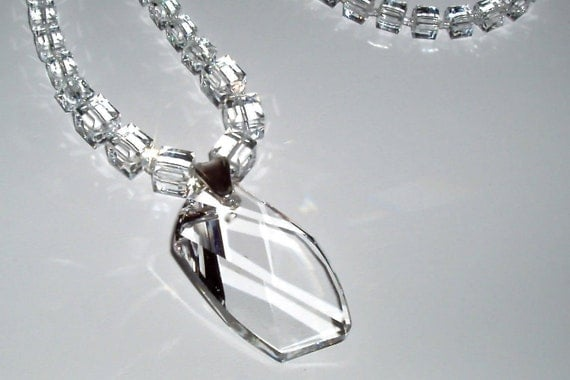 Swarovski Crystal Cube Necklace and Pendant