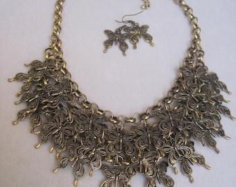 Antique Gold Fluttering Butterflies:  Symbol of Life & Hope Bib Necklace Set