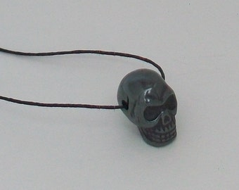 Hematite Skull Bead with Free Black Cord Necklace