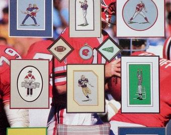 Vintage Counted Cross Stitch Booklet ON The FIFTY Yard LINE Football (Multiple Designs) By Nanci Nancy Preston Wisneskey