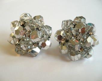Vintage Vogue Earrings Clip On Cluster Rhinestone Silver Crystal Beads
