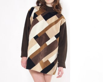 Suede Patchwork Sweater / Brick Layer Swerater / 80s Sweater