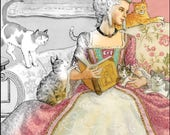 The Queen and Her Cats Set of Four Grayscale Coloring Pages for Instant Download